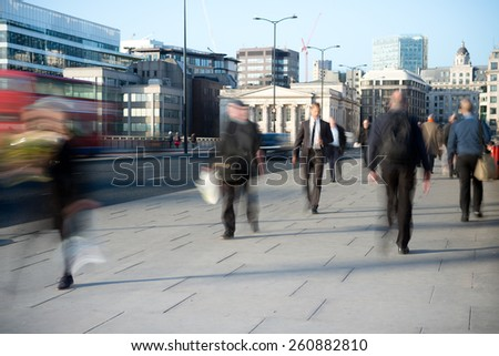 Anonymous London City workers on their way to the office