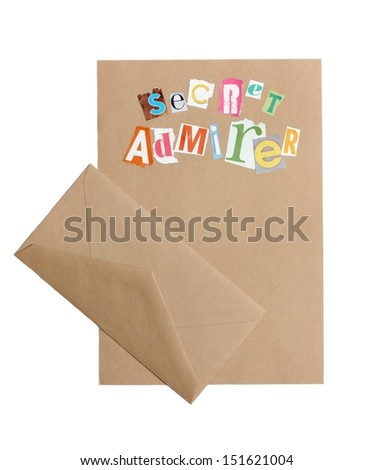 Anonymous Love Letter and Envelope - stock photo