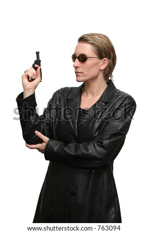 Another cool spy pose - stock photo