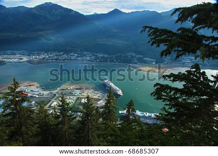 Another cruise ship docks at Juneau, Alaska - stock photo