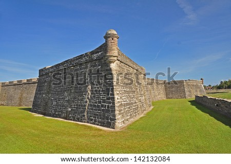 Another view of Castillo de San Marcos National Monument - the fort in St Augustine Florida is the oldest masonry fort in the US - stock photo