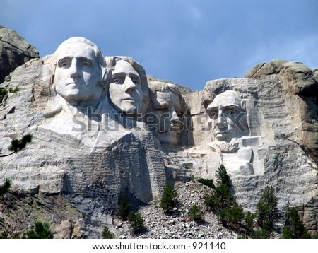 Another View of Rushmore in full sun - stock photo