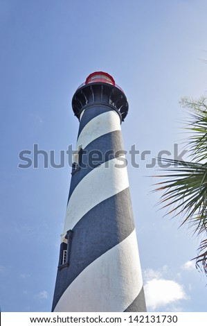 Another view of St Augustine Lighthouse Tower in Florida - stock photo