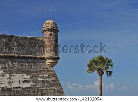 Another view of the sentry lookout tower at Castillo de San Marcos in St Augustine, Florida - stock photo