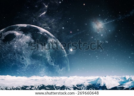 Another world landscape, abstract fantasy backgrounds. Elements of this image furnished by NASA - stock photo