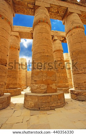 Anscient Temple of Karnak in Luxor - Ruined Thebes Egypt - stock photo