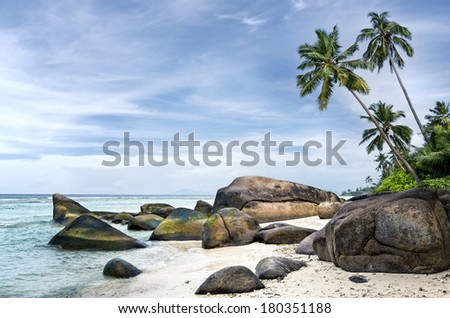 Anse aux Cedres, lovely deserted beach south-west of La Digue island, Seychelles - stock photo