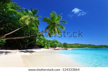 Anse Lazio beach at Praslin island, Seychelles - stock photo
