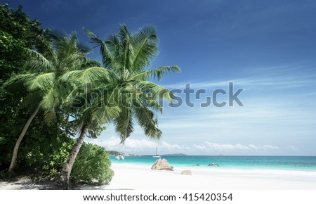 Anse Lazio beach at Praslin island, Seychelles - stock photo