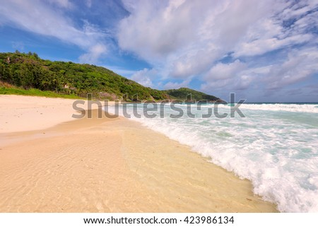 Anse Lazio beach at Praslin island, Seychelles.  - stock photo