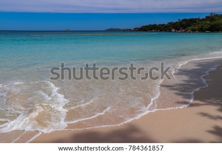 Anse Lazio beach. Praslin island. Indian ocean shore. Nature of Seychelles