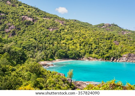 Anse Mayor is a wonderful hard-to-reach beach on the North-West side of Mahe Island near the town of Bel Ombre, Seychelles. - stock photo
