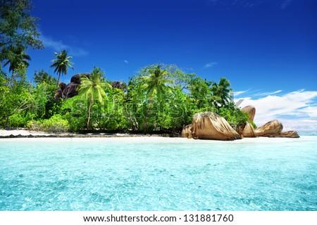 Anse Source d'Argent beach, La Digue island, Seychelles - stock photo