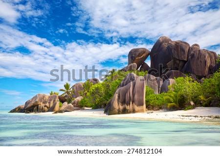 Anse Source d'Argent beach, La Digue, Seyshelles - stock photo