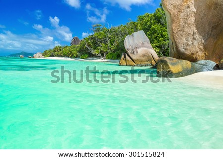 Anse Source d'Argent - Beautiful beach on tropical island La Digue in Seychelles - stock photo