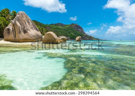 Anse Source d'Argent - Beautiful granite rocks at beach on island La Digue in Seychelles - stock photo
