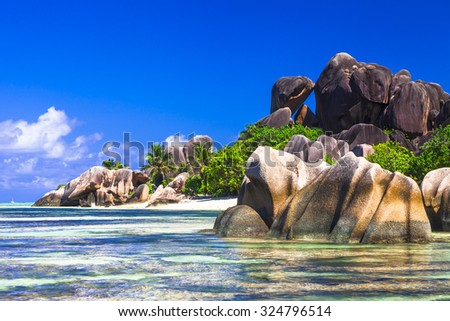 Anse source d'argent - impressive beautiful beach in La Digue is - stock photo