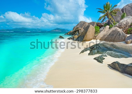 Anse Source d'Argent - Paradise beach on island La Digue in Seychelles