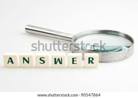 Answer word and magnifying glass