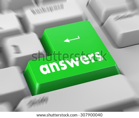 answers concept on the modern keyboard - stock photo