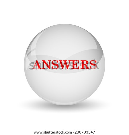 Answers icon. Internet button on white background.