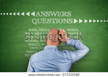 Answers questions, who what where when on blackboard - stock photo