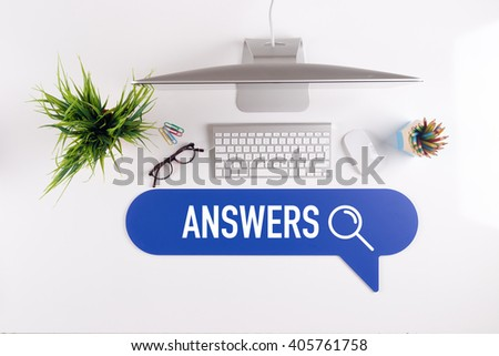 ANSWERS Search Find Web Online Technology Internet Website Concept - stock photo
