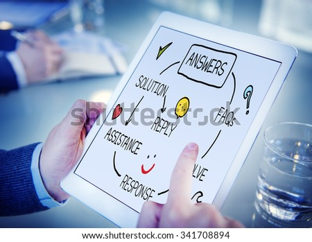 Answers Solution Response Question Solving Concept - stock photo
