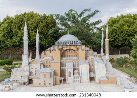 ANTALYA - OCTOBER 12, 2014: Scale Model of the Ayasofia Mosque in Istanbul at Minicity Park in Antalya, Turkey.
