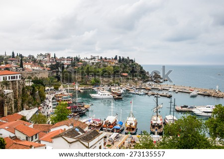 ANTALYA, TURKEY - APR 19, 2015: Aerial view of the the Old harbour in Antalya (Kaleici), Turkey. Old town of Antalya is a popular destination among  tourists