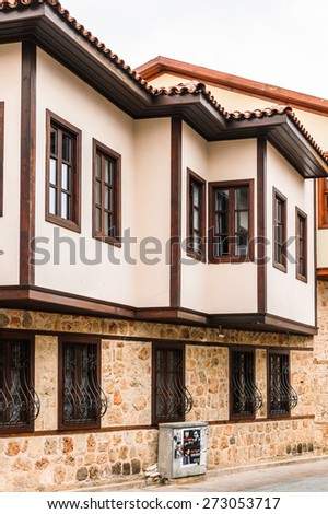 ANTALYA, TURKEY - APR 19, 2015: Architecture in the Historic part of Antalya (Kaleici), Turkey. Old town of Antalya is a popular destination among  tourists