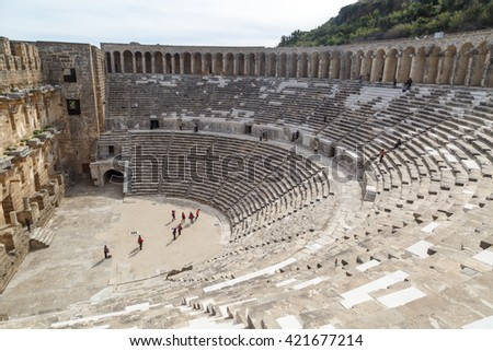 ANTALYA, TURKEY - MARCH 7, 2016 : View of amphitheater with historical old granit stairs in Aspendos Ancient City. - stock photo