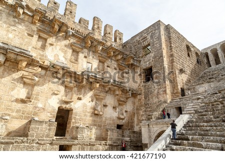 ANTALYA, TURKEY - MARCH 7, 2016 : View of historical old ancient city of Aspendos in Antalya. - stock photo