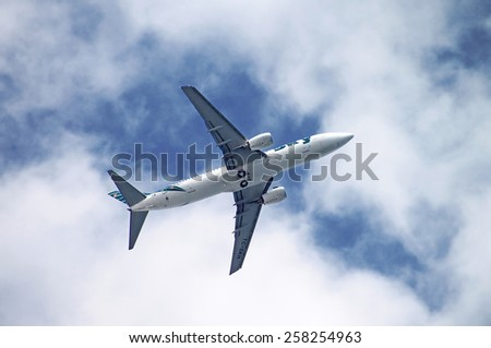 ANTALYA, TURKEY - MAY 3, 2012: Sky Airlines Boeing 737-800 is flying over Antalya, Turkey. Sky Airlines was an airline which operated chartered flights. It was based in Antalya, Turkey
