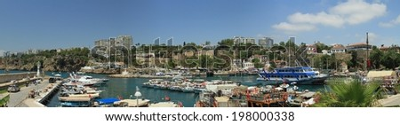 ANTALYA, TURKEY - MAY 14: Yachts and sailing ships anchored in the port of the old town. May 14, 2014 in Antalya, Turkey.