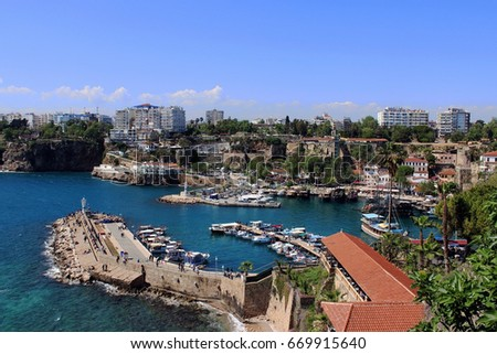 Antalya, Turkey. Panoramic view of the harbor of the old town.