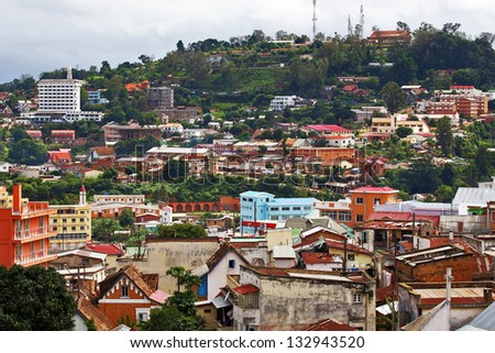 Antananarivo (capital city of Madagascar) on February 4, 2013. This is a few days after a fatal cyclone hit the city, causing many buildings to collapse and leading to confirmed fatalities.