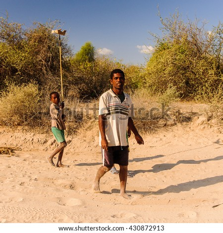 ANTANANARIVO, MADAGASCAR - JULY 3, 2011: Unidentified Madagascar people in a small village. People in Madagascar suffer of poverty due to slow development of the country