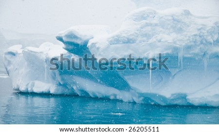 Antarctic iceberg in the snow - Paradise Bay