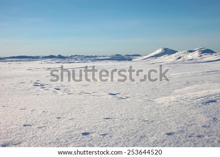 Antarctic landscape, ice and snow desert, snowy hills on a frozen plain. The ridges in the sea, snowy hills on a frozen plain, blue sky - stock photo