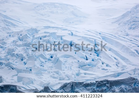 Antarctic landscape, snow desert, snowy hills on a frozen plain - stock photo