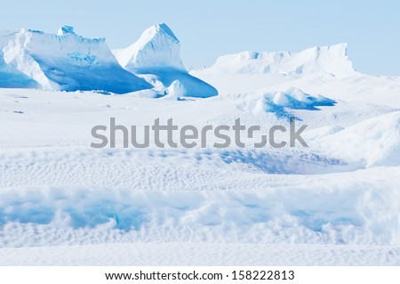 Antarctic landscapes and cold nature.