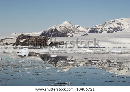 Antarctic mountains - stock photo