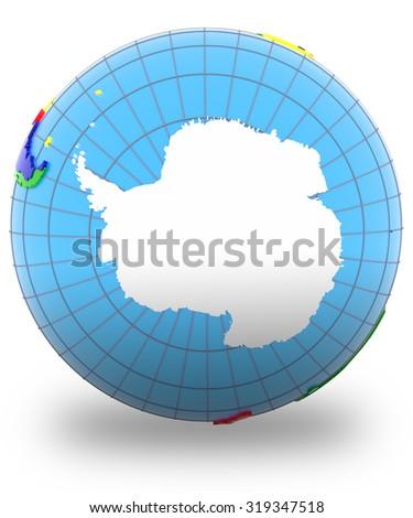 Antarctic on the globe isolated on white background.  - stock photo