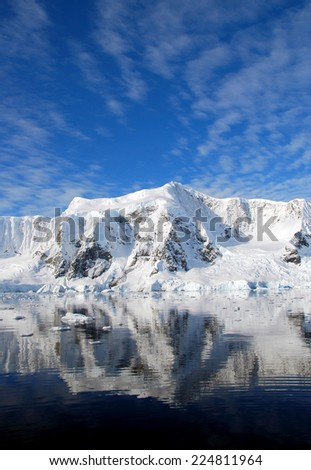 antarctic reflections of mountains - stock photo