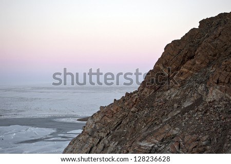 Antarctic sunset - stock photo