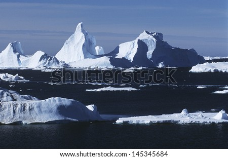 Antarctica ice bergs and sea - stock photo