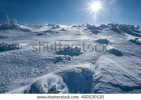 Antarctica ice desert landscape. Snowy hills on a frozen plain - stock photo