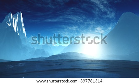 Antarctica Ice Field and Mountains 3D Illustration - stock photo