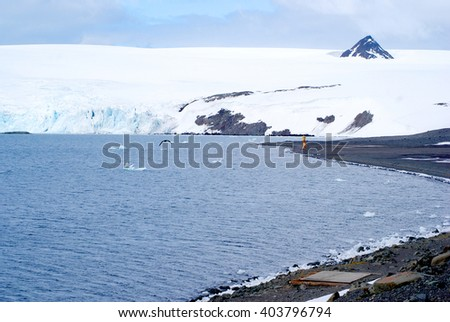 antarctica landscape background view - stock photo